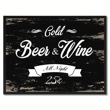 Fresh Beer & Wine Vintage Sign Black Canvas Print Home Decor Wall Art Gifts Picture Frames