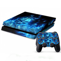 Cool Blue Skull Fire console Skin Wrap +2 Controller Sticker Decal Grip Cover Protective For Sony for PS4 Playstation 4