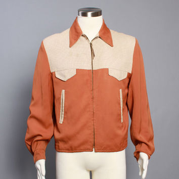 50s Reversible RICKY JACKET / Plaid & Rust Gabardine, m