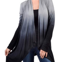 Gradient Color Collarless Long Sleeve Ombre Cardigan