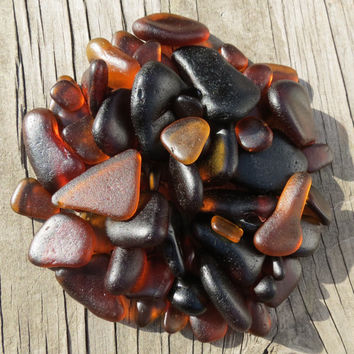 Brown Bulk Sea Beach Glass Genuine Large and Small Gold Amber Honey