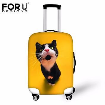 FORUDESIGNS Cute 3D Cat Animal Travel Suitcase Covers Elastic Thicken Luggage Cover Protective Cover For 18-30 Inch Trunk Cases