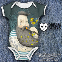 Sailor Tattoo Baby Onesuit, Fullprint Onesuit Bodysuit