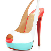 Christian Louboutin Lady Peep Slingback Red Sole Sandal, White