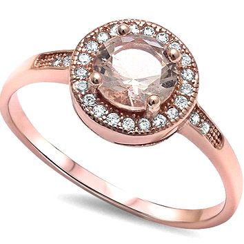 .925 Sterling Silver Pink Morganite Rose Gold Solitaire Ladies Halo 2.25 carat Engagement Ring Size 4-11