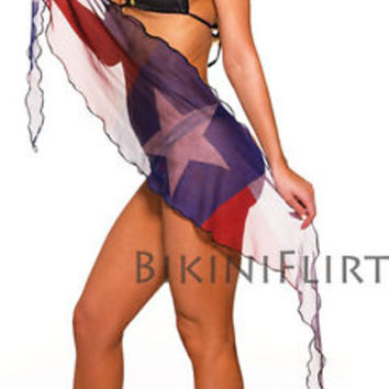 SEXY EXTRA SHORT SHEER TEXAS FLAG SEE THRU MESH SARONG! SWIM SUIT COVER UP! NEW!