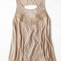 AEO Women's Mixed Lace Tank (Fox Run)