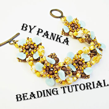 Beading bracelet tutorial. Beading pattern. How make to jewelry tutorial. Pdf file, pfd instruction. Rose petals bracelet pattern.