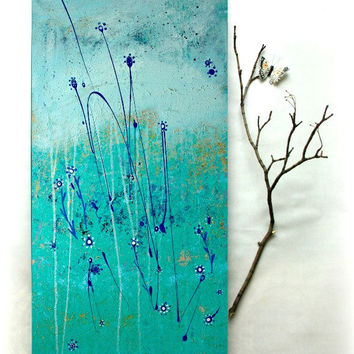 Original Painting. Modern Abstract Art on Canvas. Aqua and blue Painting by Heroux 15x30