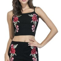 New Summer Style Women Sexy Two Piece Outfits Black Embroidery Cami Crop Top and Pencil Skirt 2 Piece Set