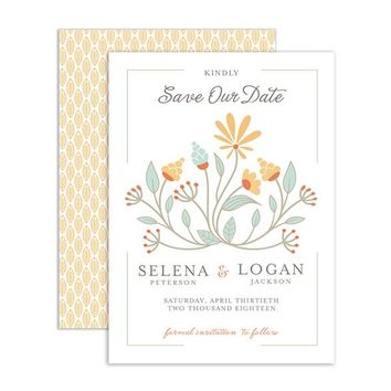 Floral Garland - Save the Date card