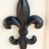 Jet Black Fleur De Lis Wall Hanging - Primitive -Kitchen Wall Decor - French Country Inspired - Vintage Inspired