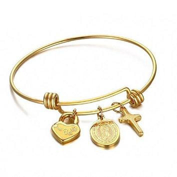 Blowin Stainless Steel Expandable Wire Bangle Bracelet with Cross Heart Lock Virgin Mary Charm Adjustable