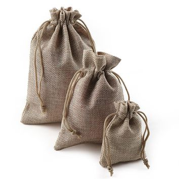 10PCS Christmas Linen Jute Drawstring Gift Bags Sacks Wedding Birthday Party Favors Drawstring Gift Bags Baby Shower Supplies