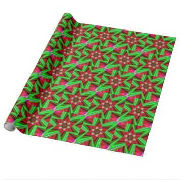 Kaleidoscope Star Art Red Green Wrapping Paper