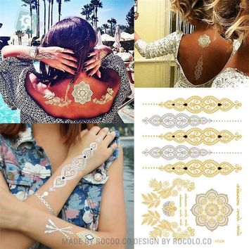 2017 hot sell body art painting tattoo stickers Metal gold silver temporary flash tattoo Disposable indians tattoos tatoo VT334