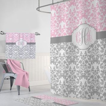 Pink Gray Damask SHOWER CURTAIN, Pink Gray MONOGRAM Personalized Bathroom Decor, Dorm Damask Bathroom Decor, Damask Bath Towel Bath Mat