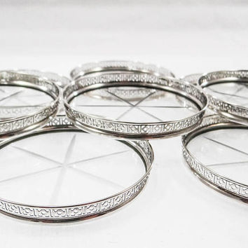 Vintage Sterling Silver and Glass Coasters by Webster