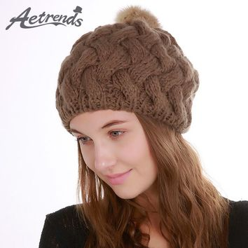 [AETRENDS] 2017 Winter Beanie Hats for Women Warm Knitted Female Caps Beanies Pompom with Top Ball Z-5997
