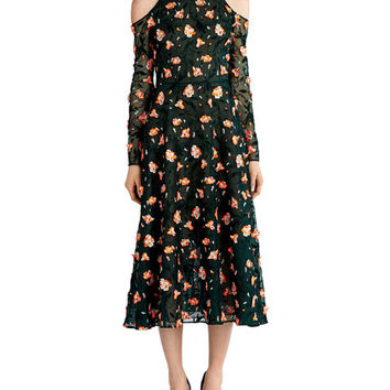 Jason Wu Floral-Embroidered Cold-Shoulder Dress, Black Pattern