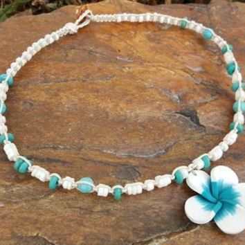 Girls Hemp Necklace, Puka Shells,  Flower Necklace, Kids Shell Necklace,Hemp Necklace, Handmade, Gift, Wedding Jewelry, Flower Girl Necklace