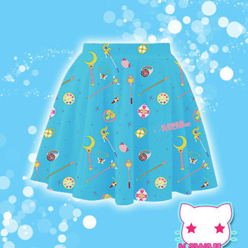 Choose Your Weapon Magical Girl Items Printed Skater Skirt Fairy Kei Pastel Goth Kawaii