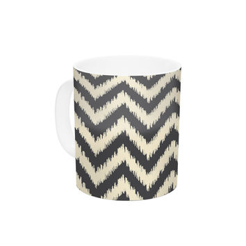 "Amanda Lane ""Moonrise Chevron ikat"" Ceramic Coffee Mug"