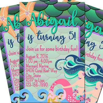 Printed Mermaid Birthday Invitations 8.5x5.5 -Mermaid Scales