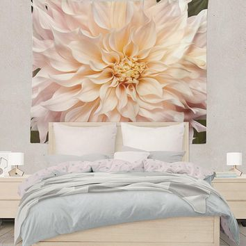White Dahlia Flower Abstract Design Tapestry Wall Hanging Meditation Yoga Grunge Hippie