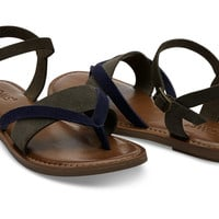 TARMAC NAVY COLORBLOCK SUEDE WOMEN'S LEXIE SANDALS
