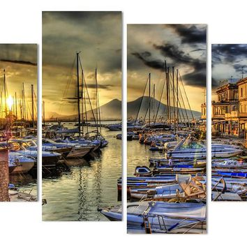 Naples Italy Wharf Boats Home Wall Decor Wall Art Panel Print Picture Framed UNF