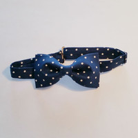Navy Polka Dot Bow Tie • Pre-Tied Bow Tie • Navy Bowtie • Spring Men's Fashion • Polka dot Bow tie • Dapper men's accessories • Boys bow tie