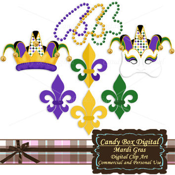 Mardi Gras Clip Art, Mardi Gras clipart, Mardi Gras digital, jester clipart, mask clipart, mask clip art - Commercial Use OK