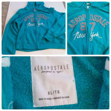 Aeropostale 87 New York Front Zip Up Hoodie Teal With Gray & White Graphic (0001