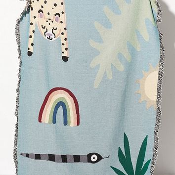 Jarmél By Jarmel For UO Happy Buddies Woven Throw Blanket | Urban Outfitters