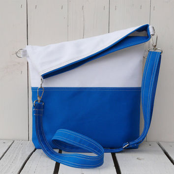 canvas totes - summer bag - blue and white - foldover bag - crossbody bag - two toned bag - messenger - weekender - travel