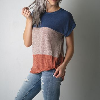 Navy and Coral Color Block Knit Top