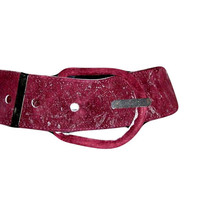 Early 70s Italian WIDE Burgundy with Silver Specks Handpainted Suede Hip Belt with Huge Buckle M/L - Custom Made by Artist