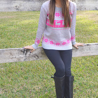 Dancer And Prancer Sweater: Grey/Pink