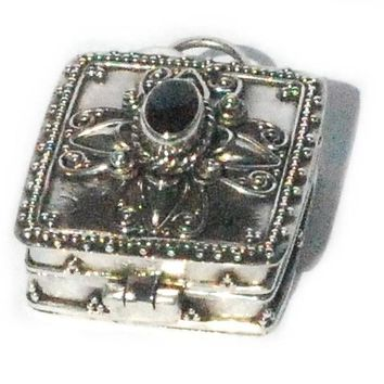 Sterling Silver Bali Square Black Onyx Prayer Box Pendant