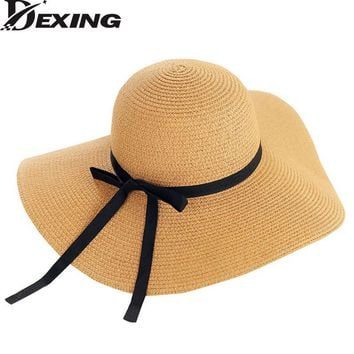 [Dexing] Wide brim  Straw Hats Summmer Hat  For Women  Butterfly  Floppy beach Hats chapeau femme