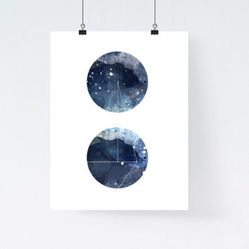 Nebula galaxy art print, round geometric art print, blue watercolor art print, modern home decor, apartment wall art, gift, minimal, simple