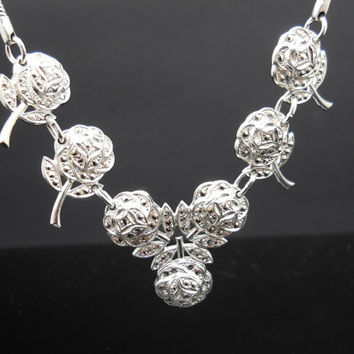 Rose Necklace, Sterling Silver, 14 Inch Necklace, Sterling Necklace, Flower Necklace, 925 Necklace, Marcasite Flower, 925 Floral Necklace