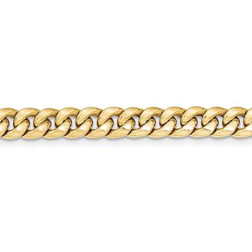 Men's 7.3mm 14k Yellow Gold Hollow Cuban Curb Chain Necklace