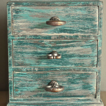 Shabby Chic Blue Jewelry Box/Mother's Day Gift/Display/Wood/Distressed/Vintage Painted Brass Drawer Knobs