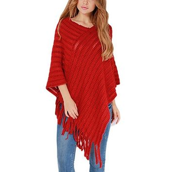 [13975] Women Pullover Fringe Medium Length Knit Top Shawl Knit Sweater