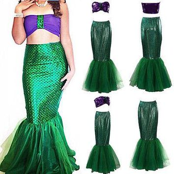 2pcs adult girl femme princess  Womens Halloween Costume Set Cosplay Fancy Party Sexy Mermaid Long Maxi Dress