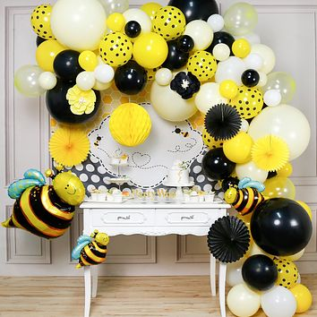 PartyWoo Bee Balloons Garland Kit, 107 pcs Bumble Bee Balloons, Bee Backdrop, Bee Foil Balloons, Paper Fans, Honeycomb, Black Yellow Balloons for What Will It Bee Gender Reveal, Bee Party Decorations