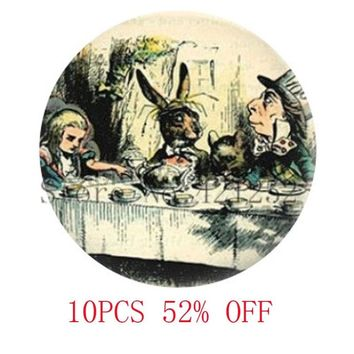 Alice In Wonderland A Mad Tea Party Mad Hatter March Hare Fairy Tale Art Necklace keyring bookmark cufflink earring
