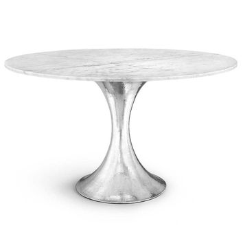 Bungalow 5 Stockholm Center/Dining Table - Nickel & White | New Arrivals | Furniture | Candelabra, Inc.